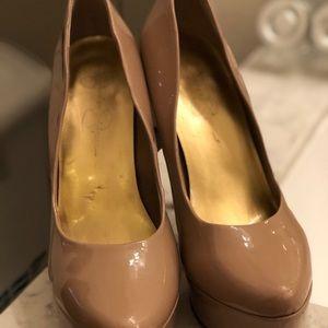 Jessica Simpson Shoes - Jessica Simpson Nude Waleo Patent Leather Pumps 9